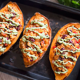 Stuffed Sweet Potatoes With Avocado Sauce.