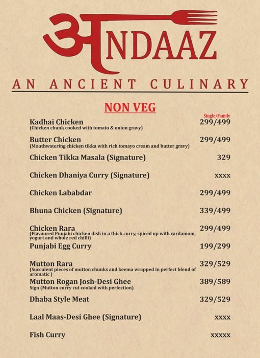 Andaaz An Ancient Culinary menu 7
