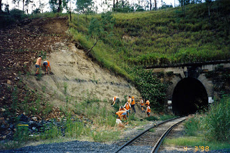 Photo: AUS-RY48  Australia - Railroads in Queensland are now using vetiver to stabilize problem areas, such as this tunnel entrance