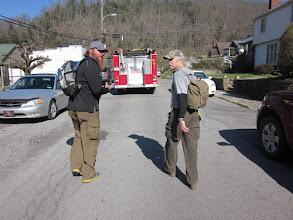 Photo: We got to follow the firetruck through town.  A 3-person parade!