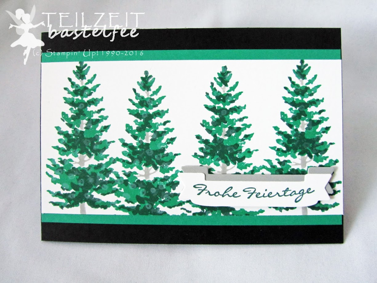 Stampin' Up! – In{k}spire_me, Color Challenge, Tage wie Weihnachten, Season like Christmas, Duet Banner Punch, Bannerduo, Kling Glöckchen, Jingle all the way, Christmas card, Weihnachtskarte, Weihnachtsbaum