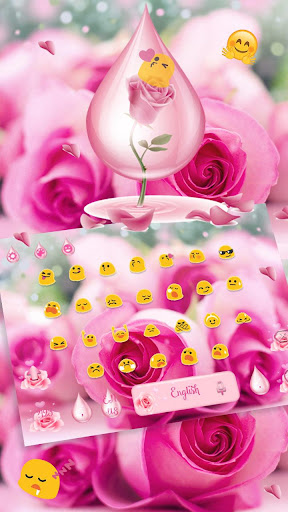 Pink Rose Water Keyboard Theme 10001004 screenshots 3