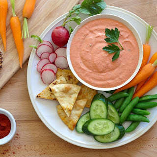 Spicy Roasted Red Pepper Yogurt Dip.