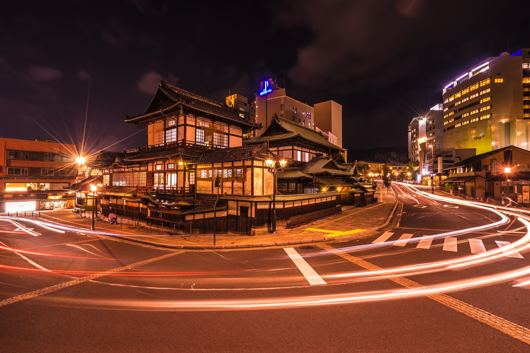 Dogo Onsen Honkan promenade Night view (light-up)2
