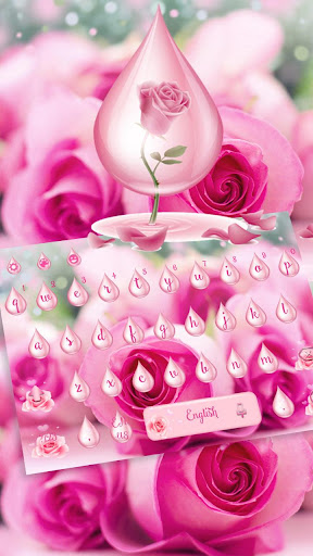 Pink Rose Water Keyboard Theme 10001004 screenshots 2