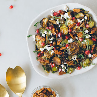 Roasted Brussels Sprouts with Pomegranate, Feta & Mint