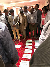 Photo: The 2017 awardees implementing USAID Office of Food for Peace (FFP) development food security activities (DFSAs) in Ethiopia participate in a Theory of Change exercise as part of the Monitoring and Evaluation Workshop on February 20-24, 2017 held in Addis Ababa, Ethiopia. The workshop was held by FFP and the FANTA Project. New awardees included Food for the Hungry, World Vision, CRS, and REST.