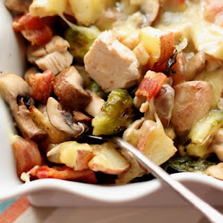 Roasted Potatoes with Brussels Sprouts, Mushrooms, Chicken and Bacon.