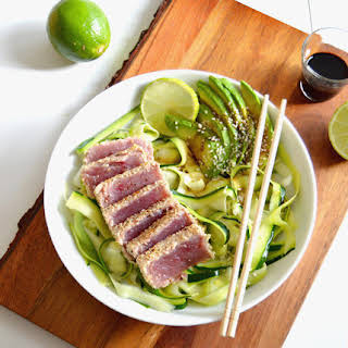Sesame Crusted Ahi Tuna with Zoodles.