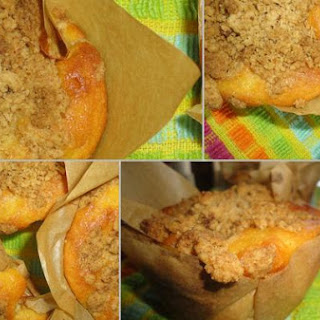 Peach Yogurt Crumble Muffins
