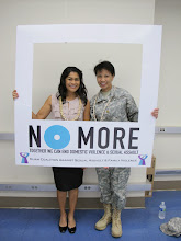 Photo: First Lady Christine Calvo and MAJ Esther Aguigui show their support to end domestic violence and sexual assault!