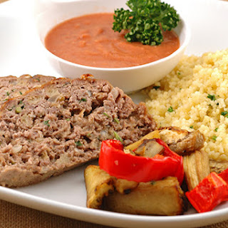 Moroccan Lamb Meatloaf With Spicy Tomato Dipping Sauce.