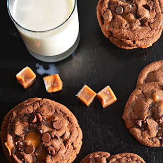 Salted and Malted Nutella Caramel Cookies.
