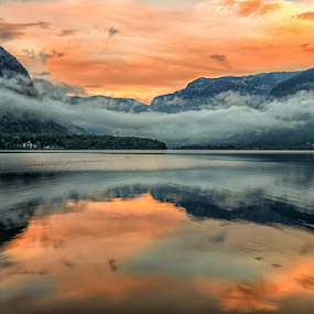Sunset at The Lake by Nitescu Gabriel - Landscapes Sunsets & Sunrises ( clouds, water, reflection, europe, mountain, waterscape, beautiful, reflections, lake, landscape, mountains, european, red, sunset, cloud, austria,  )