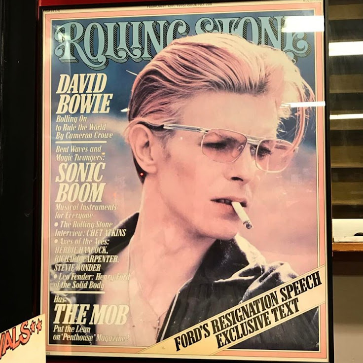 A framed poster of Bowie's 1976 interview by Cameron Crowe in Rolling Stone.