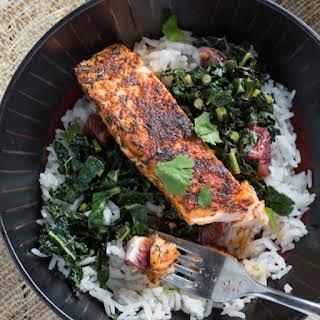 Blackened Salmon and Kale Bowls.