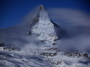 Photo: Moonlight illuminates the Matterhorn as a winter storm clears.