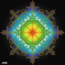 "Photo: Spiritual Series: Jameel (2001)  Digital Print/ Mixed Media  إن الله جميل يحب الجمال ""Allah Jameel yuhibu al-jamaal""  ""God is Beautiful and Loves Beauty""  Arabic Calligraphic Composition (Kufic Style)"
