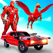 Flying Horse Transform Car: Muscle Car Robot Games