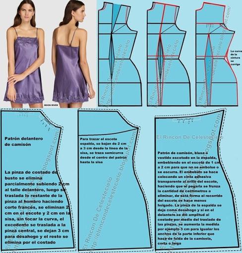 Camison de tiras con encaje y escote en la espalda y forma de desarrollar los patrones