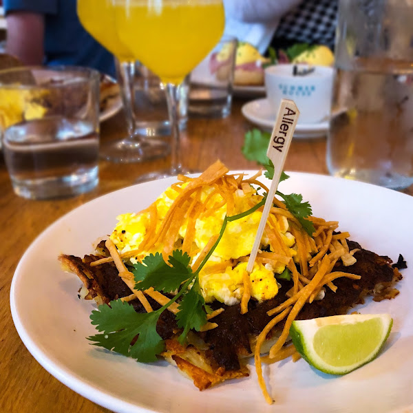 The mexican hashbrowns with scrambled eggs - Gluten Free (Celiac) and dairy allergy!