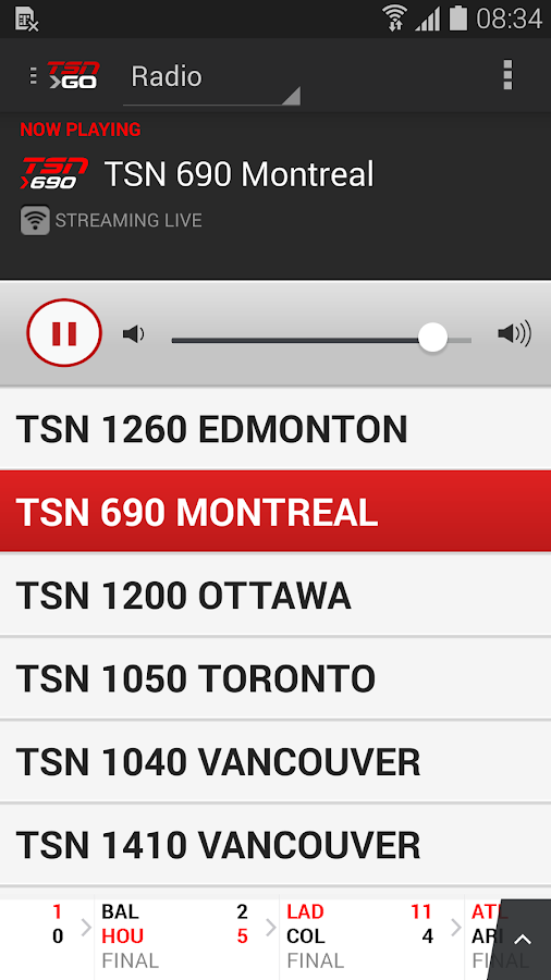 TSN GO - screenshot