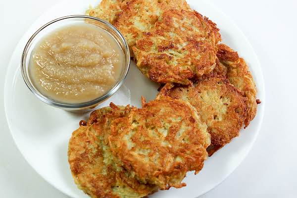 Quinoa And Potato Latkes With A Side Of Applesauce.
