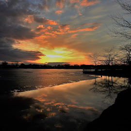 Passion Perfect by Kathy Woods Booth - Landscapes Sunsets & Sunrises ( calm, waterscape, sunset, ice, reflections, tranquility, city park, dusk,  )