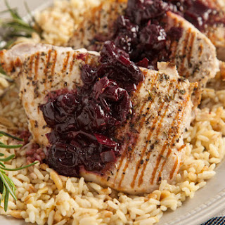 EASY Cherry Balsamic Topped Grilled Pork Chops