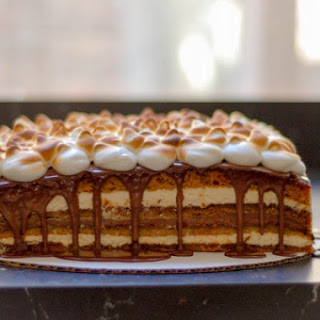S'Mores Cake with Toasted Marshmallow Meringue Frosting