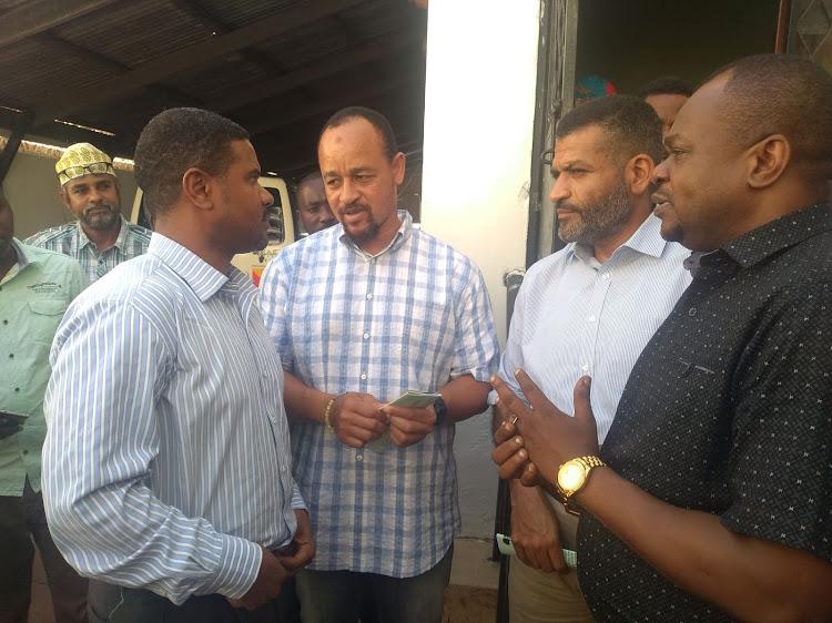 Haki Africa executive director Hussein Khalid with MPs Khatib Mwashetani (Lunga Lunga), Abdulswamad Nassir (Mvita) and Badi Twalib (Jomvu) at the Haki Africa offices on August 27, 2019.