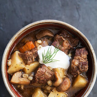 Beef and Barley Stew with Mushrooms.