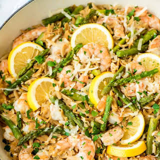 Lemon Shrimp Pasta with Orzo and Asparagus.