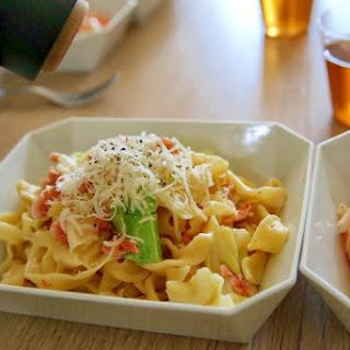 Cream Pasta with Sakura Shrimp and Cabbage