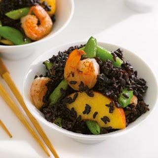 Black Forbidden Rice with Shrimp, Peaches, and Snap Peas.