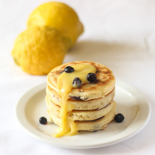 Blueberry Lemon Pancakes with Lemon Curd.
