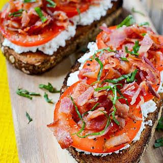 Pancetta, Tomato and Ricotta Breakfast Open Faced Sandwich.