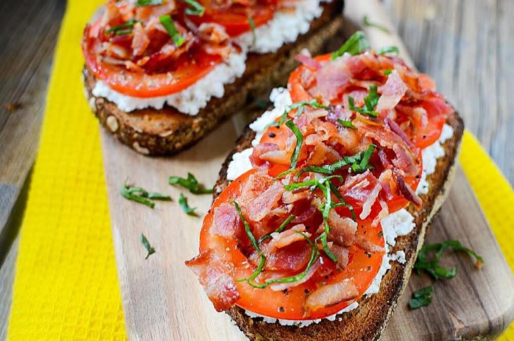 Pancetta, Tomato and Ricotta Breakfast Open Faced Sandwich Recipe