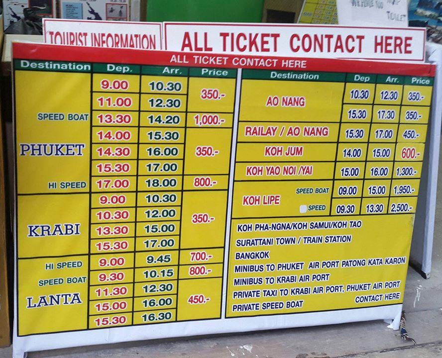 bảng giá vé đên Koh Phi Phi