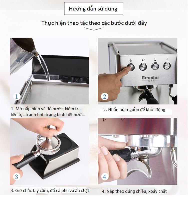 Máy pha cà phê Espresso, latte Gemilai CRM3005 - ảnh 6