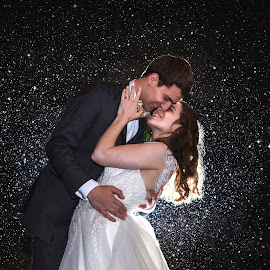 Between the raindrops  by Kyle Re - Wedding Bride & Groom ( contrast, backlit, raining, kylerecreative, wedding, beautiful, outdoor, atmosphere, lovely, sparkle, bride and groom, bride, groom, rain,  )