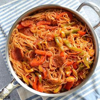 Three Pepper Pasta with Crispy Pepperoni.