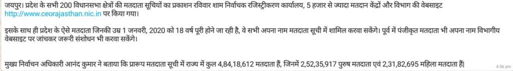Rajasthan Voter List