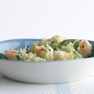 Lemony Risotto with Asparagus and Shrimp.