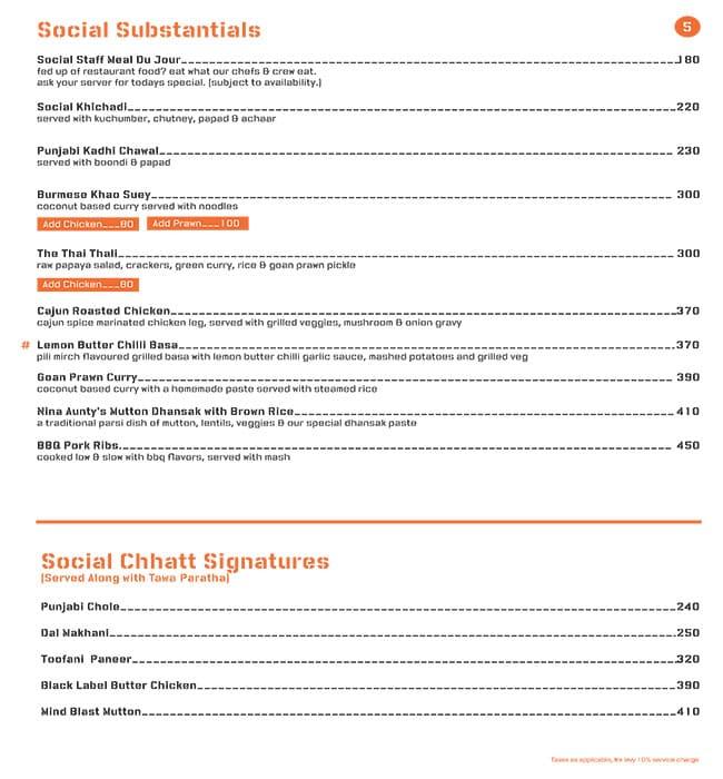 Colaba Social menu 1
