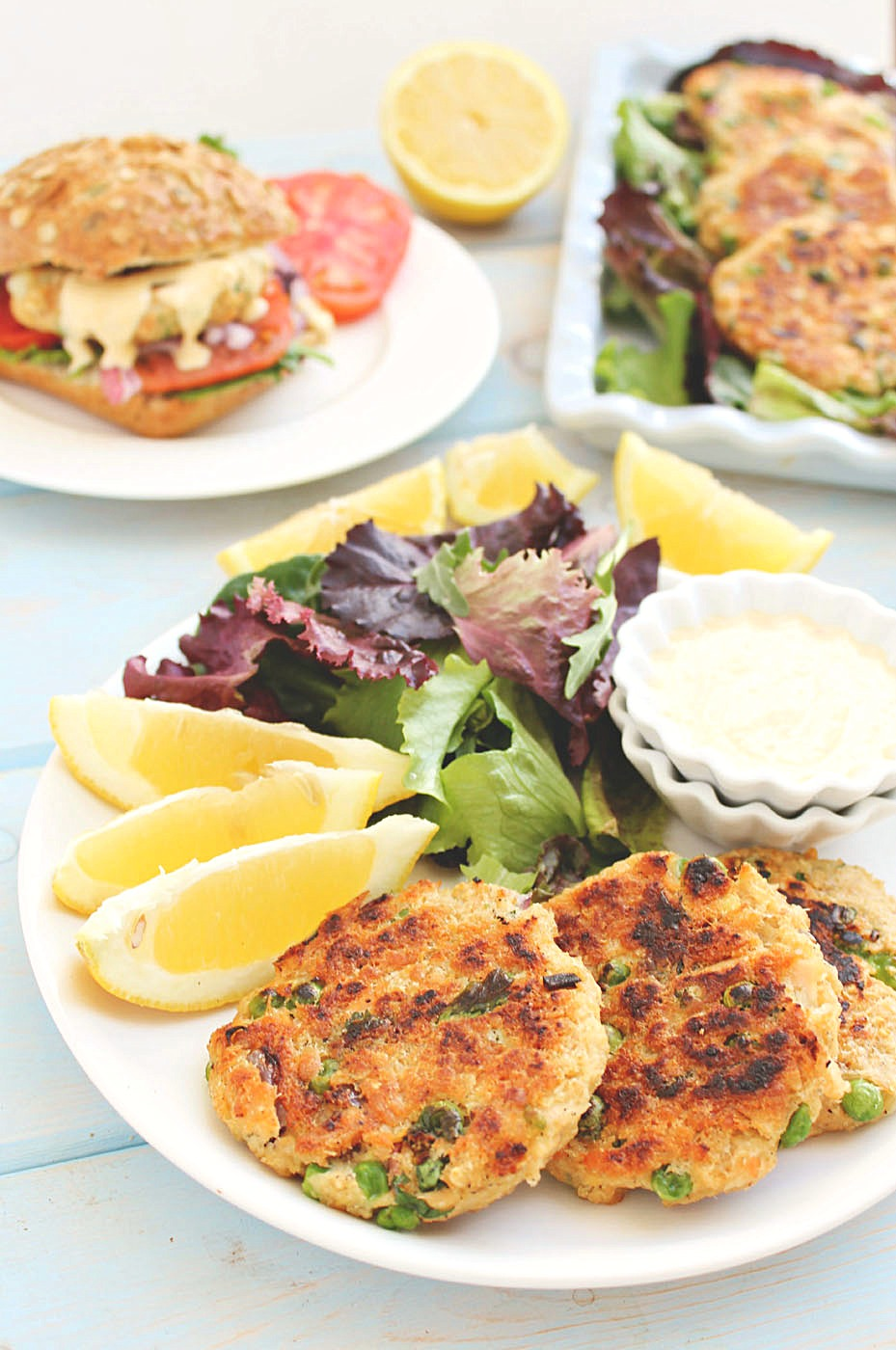 Salmon Tuna Burgers with Spicy Garlic Lemon Alioli