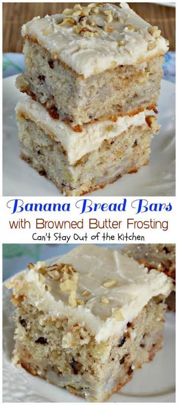 Banana Bread Bars with Browned Butter Frosting