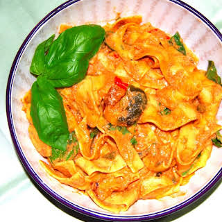 Pappardelle Pasta in Roasted Tomato Chipotle Sauce.