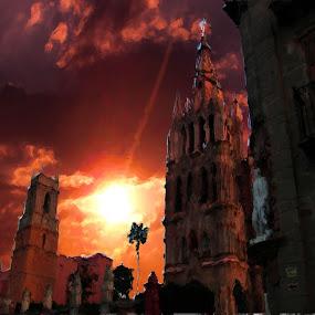 sunset over the church by John Kolenberg - Digital Art Places ( clouds, over, red, church, sunset, pixoto, award, winner, photo, manipulation )