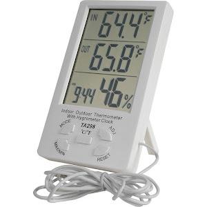 Termometru multifunctional cu ceas si senzor umiditate pentru interior si exterior